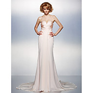 Dress - Champagne Plus Sizes / Petite Trumpet/Mermaid V-neck Court Train Chiffon / Taffeta