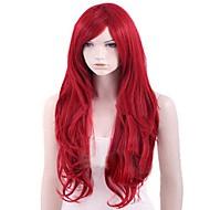 Capless röd extra lång högkvalitativt naturligt lockigt syntetisk peruk