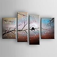 pintura a óleo abstrata paisagem pássaro no conjunto da árvore de 4 telas pintadas a mão esticada com emoldurado