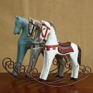 """קישוט וינטג 'רטרו 9 """"בסגנון נורדי עץ סוס נדנדה קישוט הבית"""