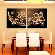 e-Home® uitgerekt geleid canvas kunst decoratief patroon flash effect geleid knipperende glasvezel afdruk set van 2