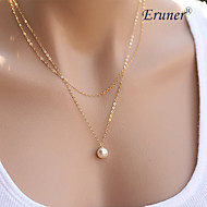 Eruner®Simple Elegant Pearl Double Chain Alloy Pendant Necklace,Tiny Necklace(Rando