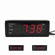 3 em 1 carro relógio digital com voltímetro e termômetro para 12v / 24v