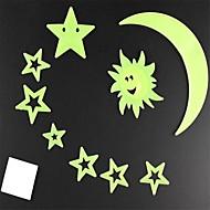 벽 스틱 벽 데칼, 달 스타일 야광운 장식 PVC 벽 스티커 (9 개)