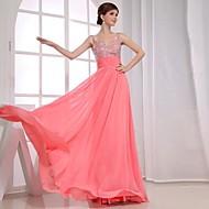 Formal Evening Dress - Watermelon Plus Sizes A-line V-neck Floor-length Chiffon