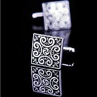 toonykelly divat férfi ezüst fekete zománc réz mandzsettagomb (ezüst) (1 pár)