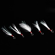 Small White Feather Fish Hook Accessories(5 PCS)