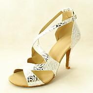 Customizable Women's Dance Shoes Latin/Ballroom Leatherette Stiletto Heel Silver