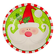 Santa Claus Pattern Disposable Paper Plates 20Pcs/Bag