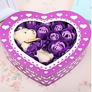 20pcs הרומנטי הוורדים אהבת פרחי סבון מתנת חג האהבה עם דוב אחד