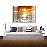 3D Wall Stickers Wall Decals, Sunrise at Sea Decor Vinyl Wall Stickers