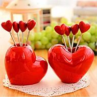 forma do coração garfos fruto de aço inoxidável, aço inoxidável 7,5 × 7,5 × 6,5 centímetros (3,0 × 3,0 × 2,6 polegadas) tipo aleatório