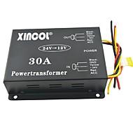 xincol® køretøj bil dc 24v til 12v 30a strømforsyning transformer konverter med ventilator regulering-sort