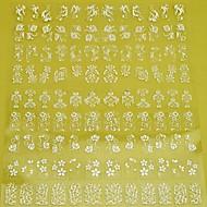 1x 108 db 3d fehér virág köröm matricák