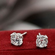 Stud Earrings Men's/Women's Silver Earring Rhinestone