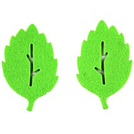 feuilles créatives en forme de coupe de tissu tapis montagnes non tissé - vert (2 pièces)