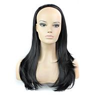 half pruik 24 inch lange golf hittebestendige vezel synthetische vrouwelijke pruik kleur zwart