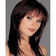 capless mix väri pitkä pituus korkealaatuisia luonnonmateriaaleja suorat hiukset synteettinen peruukki puolella bang