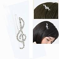 Fashion Cute Rhinestone Notes Hairpin
