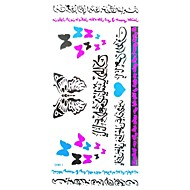 1Pc Waterproof Multicolored Arabic Numbering Silver Blue Butterfly Heart-Shaped Fluorescent Series  Tattoo Sticker