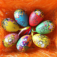 Colorful Pattern Easter Egg,Random Color,6Pcs/bag