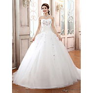 Ball Gown Strapless Tulle Court Train Wedding Dress