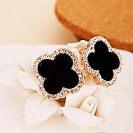 Black Lucky Clover Four Leaved Clover Earrings(1 pair)