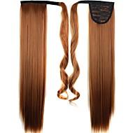קליפ באיכות גבוהה סינטטי 24 אינץ 'ארוך בפיסת שיער חלק קוקו