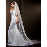 Wedding Veils Women's Elegant Tulle Two-tier Beaded Edge Veils