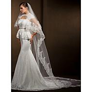 Wedding Veils Women's Elegant Tulle Two-tier Lace Applique Edge Veils