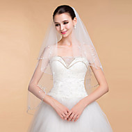Véus de Noiva Duas Camadas Véu Capela Borda Enfeitada 35,43 cm (90cm) Tule Branco Marfim