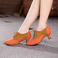Non Customizable Women's Dance Shoes Modern Suede Cuban Heel Blue/Brown/Pink