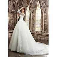 A-line Petite / Plus Sizes Wedding Dress Court Train Bateau Satin with