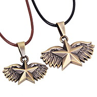 Vintage All-match Alloy Pentagram Leather Couple Necklace(A pair of selling)