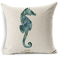Modern Style  Seahorse Patterned Cotton/Linen Decorative Pillow Cover