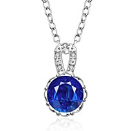 Fashion Round Shape Silver Plated Silver Pendant Zircon Necklace(2 color)(1Pc)