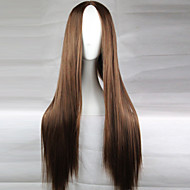 The New Animation Carved Brown Long Straight Hair Wig 80CM