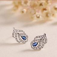 Sapphire leaves Women's Alloy Stud Earrings With Crystal