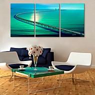 e-home® rozciągnięty Płótno długi długi most dekoracji malarskiej zestaw 3