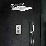10 Inch Dual Handle Thermostatic Mixer Shower Rainlfall 250mm Ultra-Thin Waterfall Shower and Hand Held
