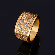 U7® Men's Jewelry Simple Ring 18K Real Gold Plated Cubic Zirconia Wedding Ring Fashion Jewelry