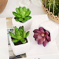 "4""H Modern Style PVC Simulation Mini Plants in White Ceramic Vase Multicolor Optional"