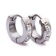 Clear CZ Stone Silver Stainless Steel Stud Hoop Mens Earrings E141