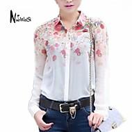 NUO WEI SI ®  Women's Lapel Neck Floral Print Chiffon Shirt