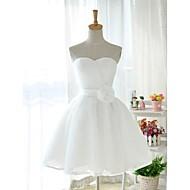 Robe de Demoiselle d'Honneur  Mode de bal Col en cœur Longueur genou Tulle/Satin Stretch
