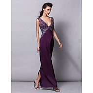 TS Couture® Formal Evening Dress Plus Size / Petite Sheath / Column V-neck Floor-length Satin with Crystal Detailing