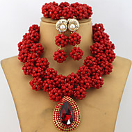 Latest New African Crystal Beads Balls Jewelry Set Wedding Bridal Costume Necklace Set
