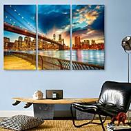 e-Home® sträckta ledda kanfastryck konststadsbron flash effekt ledde blinkande optisk fiber utskrifts uppsättning av 3