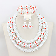 Fashion New Crystal Necklace Bracelet Earrings Set African Wedding Beads Jewelry Set AC 045