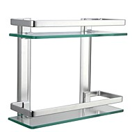 Silver Sand Sprayed Space Aluminium Double-deck Rectangular Bathroom Glass Shelf, A4126